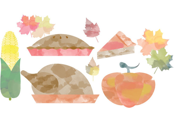 Thanksgiving Watercolor Vectors - бесплатный vector #381631