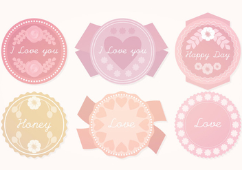 Vector Cute Pastel Badges - vector gratuit #381641