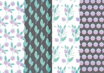 Vector Lilac Floral Patterns - vector gratuit #381651