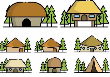 Minimalist Shack Icon Set - vector #381661 gratis