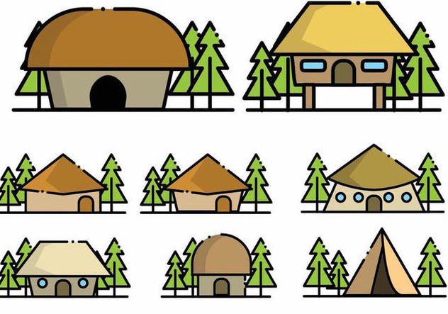 Minimalist Shack Icon Set - Free vector #381661