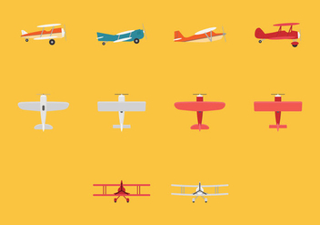 Biplane Icon Set - vector #381721 gratis