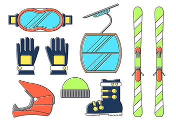 Winter Sport Elements - Free vector #382021