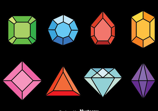 Colorful Gems Vector Set - Kostenloses vector #382131