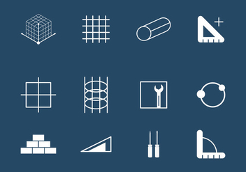 Rebar Construction Icon Set - бесплатный vector #382171