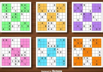 Vector Set Of Sudoku Game - vector gratuit #382241