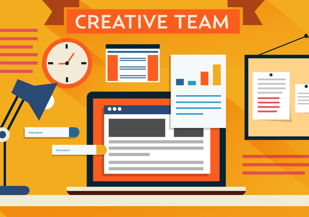 Free Vector Creative Team Desk - бесплатный vector #382501