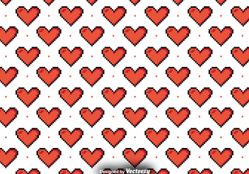 Vector Pattern With Pixelated Hearts - Free vector #382581