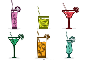Assorted Cocktail Icons Vector - Free vector #382631