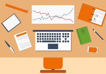 Orange Business Manager Workspace Vector Illustration - Free vector #382771