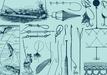 Fishing Tools And Drawings - vector #383011 gratis