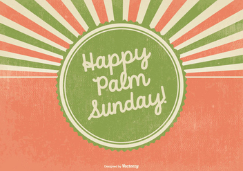 Retro Happy Palm Sunday Illustration - Free vector #383051