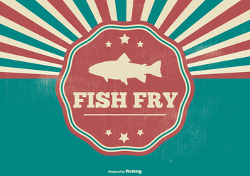 Fish Fry Retro Illustration - vector gratuit #383171