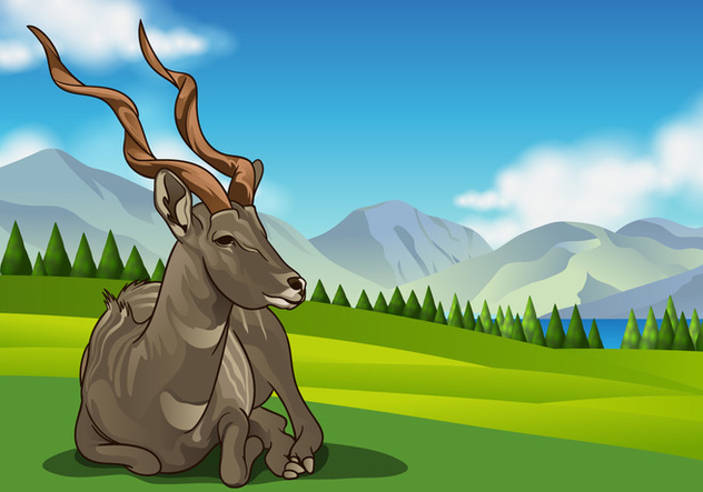 Kudu Vector on Rolling Hills - Free vector #383271
