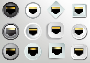 Network socket RJ45 icon - vector gratuit #383321