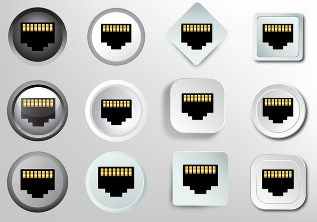 Network socket RJ45 icon - Free vector #383321