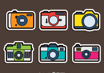 Camera Sticker Vector Set - Kostenloses vector #383341