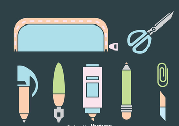 Stationary Icons Vector - vector gratuit #383351
