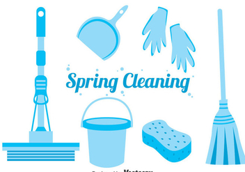 Blue Spring Cleaning Icons Vector - vector gratuit #383361