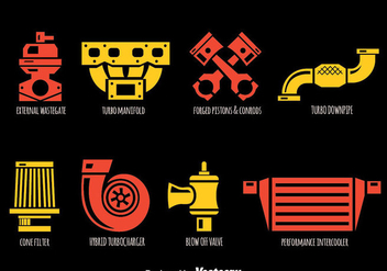 Car Parts Icons Vector - Kostenloses vector #383381