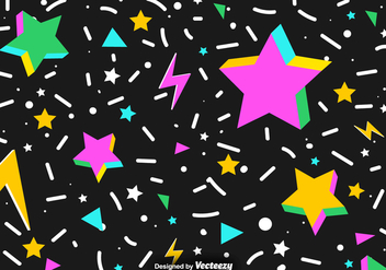 Vector Abstract Background Of Colorful 3D Stars And Confetti - vector gratuit #383401