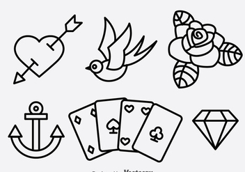 Old School Tattoo Collection Vector - Free vector #383601