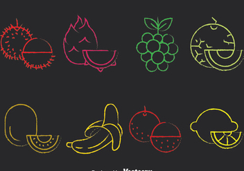 Colorful Fruits Chalk Draw Icons - vector gratuit #383631