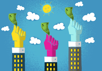 Hands Waving Money - vector gratuit #383641