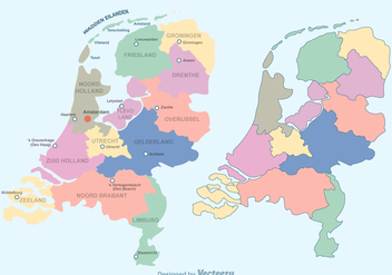 Free Colorful Netherlands Map Vector - vector gratuit #383701