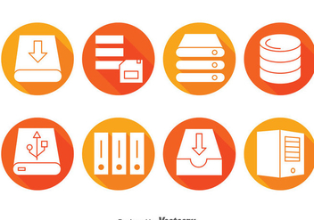 Server Rack Circle Icons - vector gratuit #383711