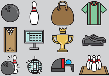 Cute Bowling Icons - vector #383751 gratis
