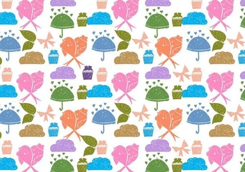 Free Vector Love Birds Doodle Background - Free vector #383951