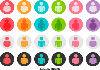 Vector Set Of Person Icon Buttons - vector gratuit #384001