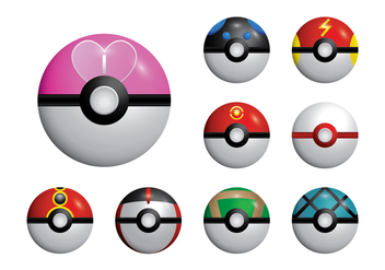 Poke Game Ball Set Vector - Kostenloses vector #384051