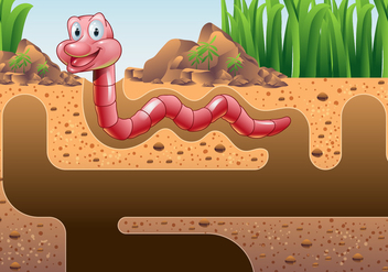 Earthworm Vector Wallpaper - vector gratuit #384111