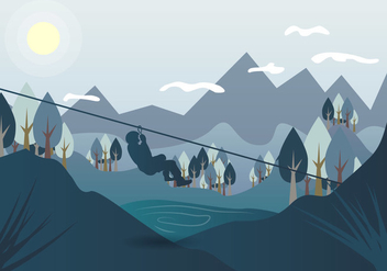 Zipline Landscape Vector Illustration - Free vector #384221
