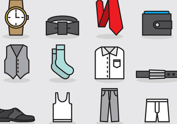 Men Clothes And Accessories Icons - бесплатный vector #384271