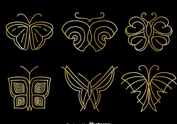 Golden Butterfly Logo Vector Set - Free vector #384291