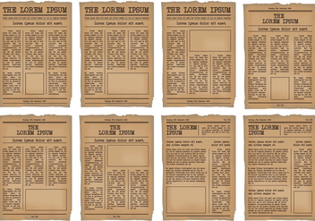 Old Newspaper Template vector set - бесплатный vector #384341