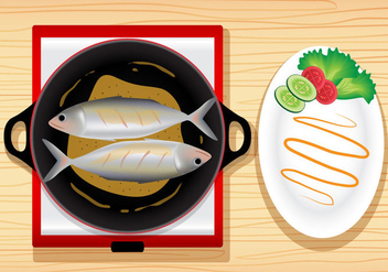 Fish Fry Meal Vector - vector #384611 gratis