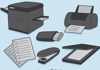 Office Equipment Vector Set - бесплатный vector #384631