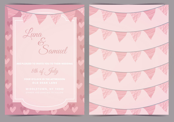 Pink Bunting Vector Wedding Invite - Free vector #384761