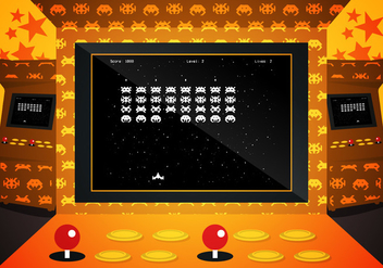 Arcade Invaders Game Illustration Vector - Kostenloses vector #384771