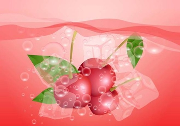 Effervescent Cherry In Water - vector gratuit #384801