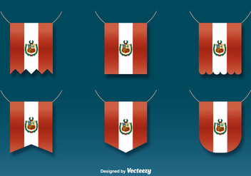 Vector Hanging Flags of Peru Set - vector gratuit #384871