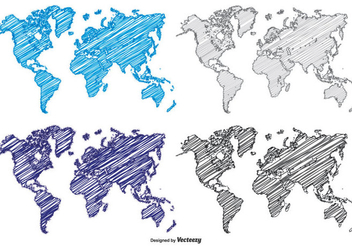Scribble Style World Maps - vector #384881 gratis