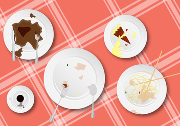 Clean These Up! Dirty Dishes Vector - Free vector #385021