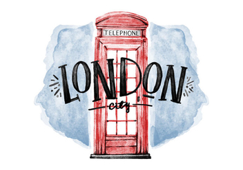 Free Cabin Telephone London Watercolor Vector - Kostenloses vector #385501