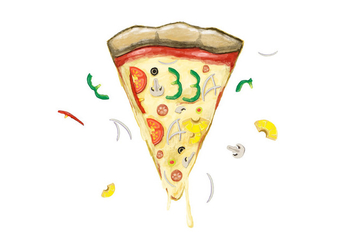 Free Pizza Day Watercolor Vector - Kostenloses vector #385521