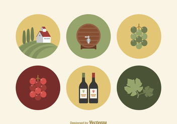 Free Flat Wine Vector Icons - vector gratuit #385581